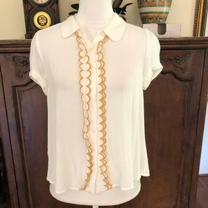 ModCloth Ivory Button Down Shirt Size M